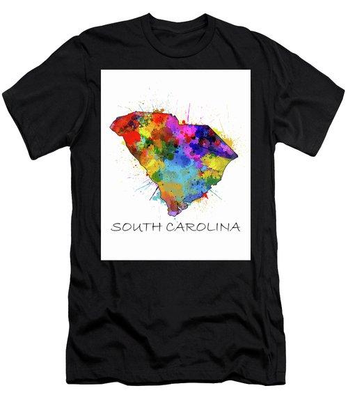South Carolina Map Color Splatter Men's T-Shirt (Athletic Fit)
