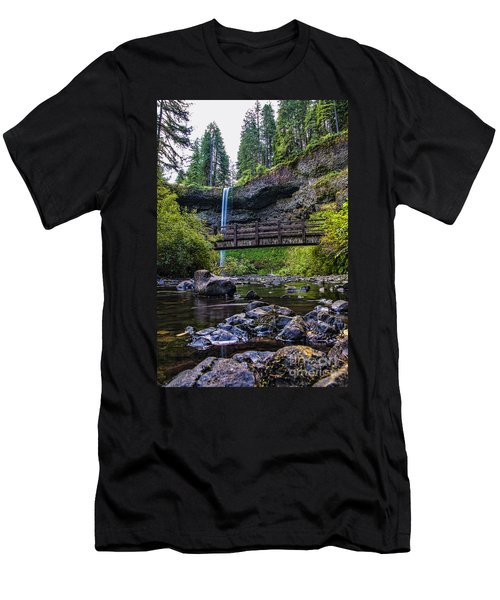 South Silver Falls With Bridge Men's T-Shirt (Slim Fit) by Darcy Michaelchuk