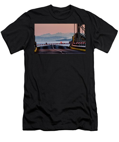 Men's T-Shirt (Slim Fit) featuring the photograph Southworth Ferry Terminal - End Of State Highway 160 by E Faithe Lester