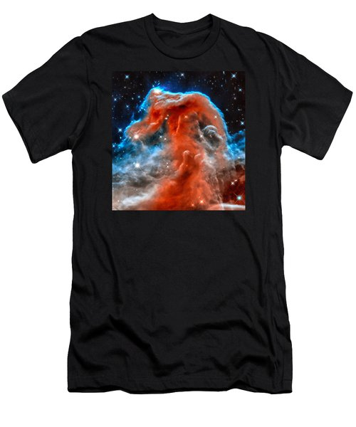 Space Image Horsehead Nebula Orange Red Blue Black Men's T-Shirt (Athletic Fit)
