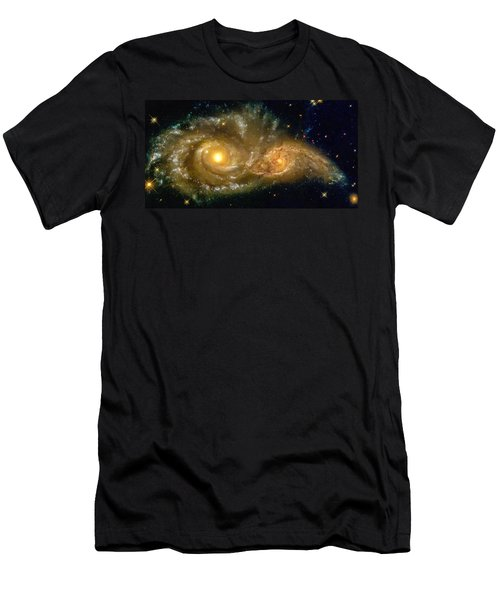 Space Image Spiral Galaxy Encounter Men's T-Shirt (Athletic Fit)