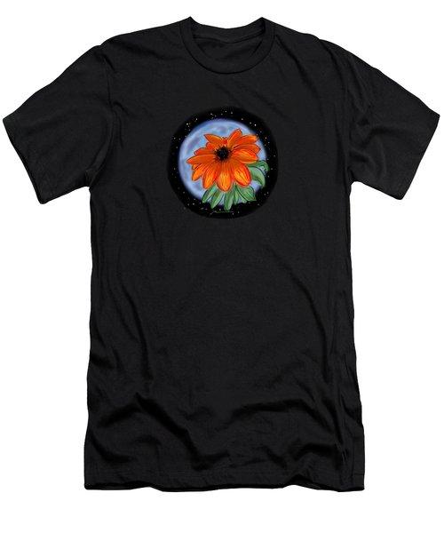 Space Zinnia On Black Men's T-Shirt (Slim Fit) by Jean Pacheco Ravinski