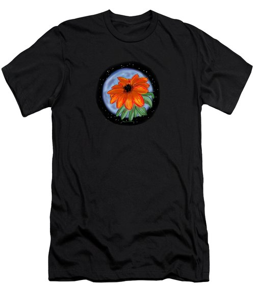 Space Zinnia On Black Men's T-Shirt (Athletic Fit)