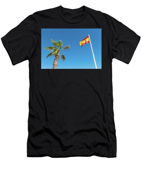 Spanish Flag And Palm Tree In The Blue Sky Men's T-Shirt (Athletic Fit)