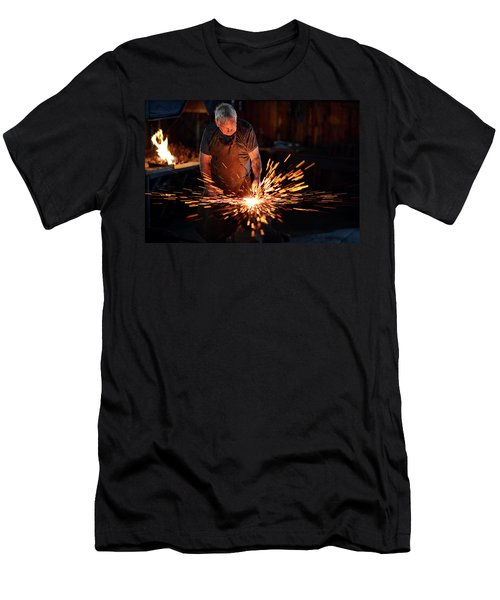 Sparks When Blacksmith Hit Hot Iron Men's T-Shirt (Athletic Fit)