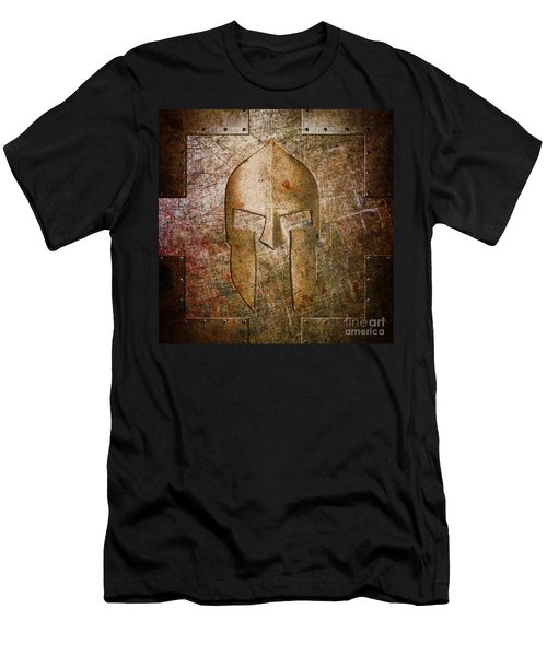 Spartan Helmet On Metal Sheet With Copper Hue Men's T-Shirt (Athletic Fit)