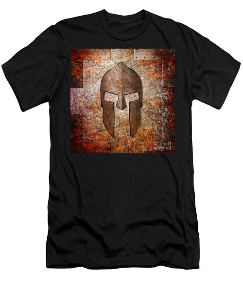 Spartan Helmet On Rusted Riveted Metal Sheet Men's T-Shirt (Athletic Fit)
