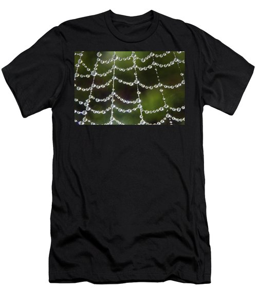 Men's T-Shirt (Slim Fit) featuring the photograph Spider Web Decorated By Morning Fog by William Lee