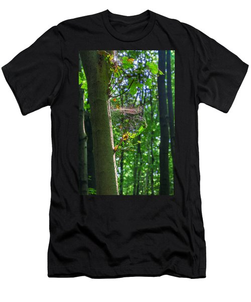 Spider Web In A Forest Men's T-Shirt (Athletic Fit)