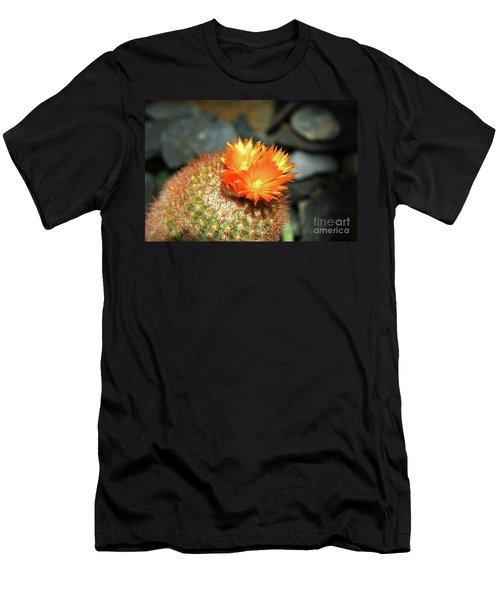 Spiky Little Cactus With Orange Flower Men's T-Shirt (Athletic Fit)