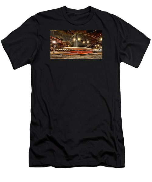 Men's T-Shirt (Slim Fit) featuring the photograph Spinning Trolley Car by Steve Siri