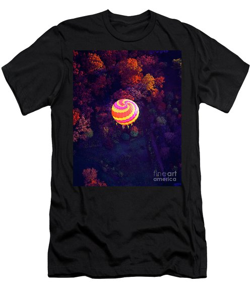 Spiral Colored Hot Air Balloon Over Fall Tree Tops Mchenry   Men's T-Shirt (Athletic Fit)