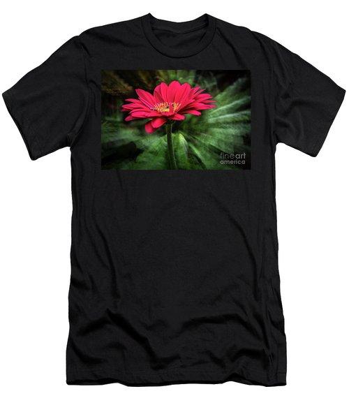 Spiral Pink Flower Focus Men's T-Shirt (Athletic Fit)
