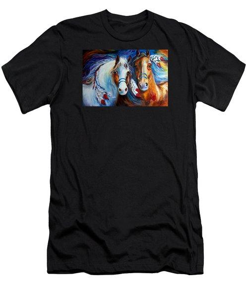 Spirit Indian War Horses Commission Men's T-Shirt (Slim Fit) by Marcia Baldwin
