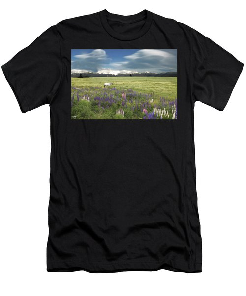 Men's T-Shirt (Athletic Fit) featuring the photograph Spirit Pony In High Country Lupine Field by Wayne King