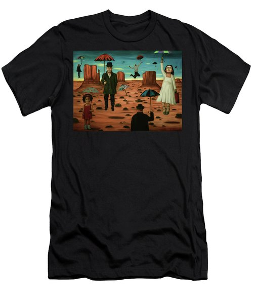 Men's T-Shirt (Slim Fit) featuring the painting Spirits Of The Flying Umbrellas 3  by Leah Saulnier The Painting Maniac