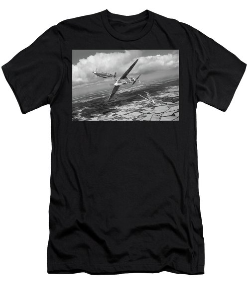 Men's T-Shirt (Athletic Fit) featuring the photograph Spitfire Tr 9 Fighter Affiliation Bw Version by Gary Eason