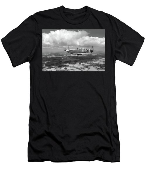 Men's T-Shirt (Athletic Fit) featuring the photograph Spitfire Tr 9 Sm520 Bw Version by Gary Eason