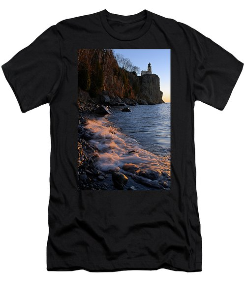 Split Rock Lighthouse At Dawn Men's T-Shirt (Slim Fit) by Larry Ricker