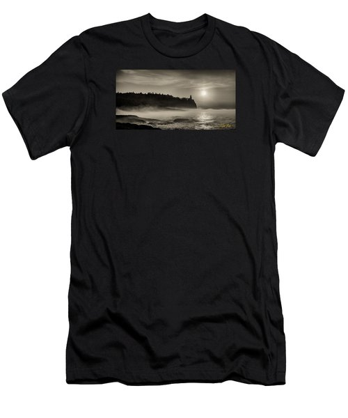 Split Rock Lighthouse Emerging Fog Men's T-Shirt (Slim Fit) by Rikk Flohr