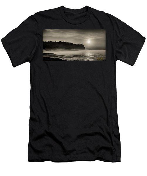 Split Rock Lighthouse Emerging Fog Men's T-Shirt (Athletic Fit)