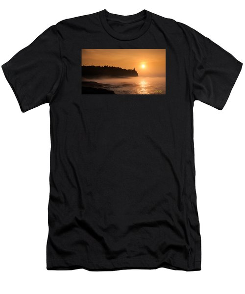 Men's T-Shirt (Athletic Fit) featuring the photograph Split Rock's Morning Glow by Rikk Flohr