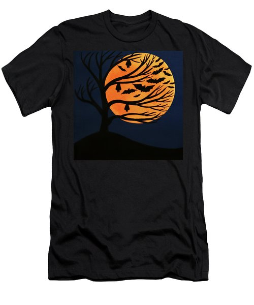Spooky Bat Tree Men's T-Shirt (Athletic Fit)