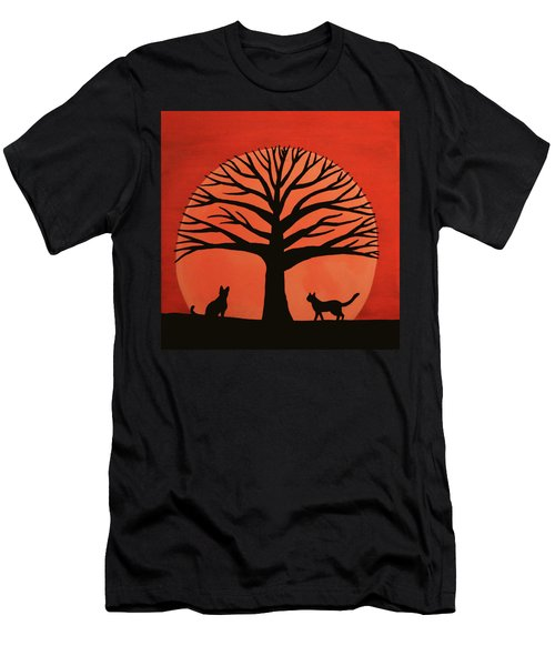 Spooky Cat Tree Men's T-Shirt (Athletic Fit)
