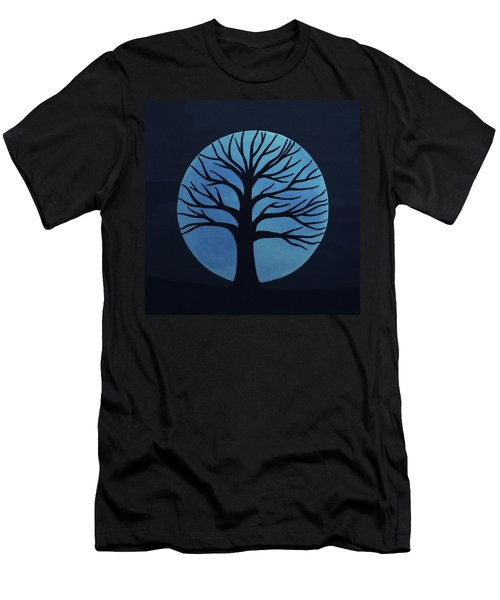 Spooky Tree Blue Men's T-Shirt (Athletic Fit)
