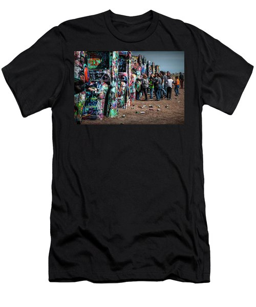 Men's T-Shirt (Slim Fit) featuring the photograph Spray Paint Fun At Cadillac Ranch by Randall Nyhof