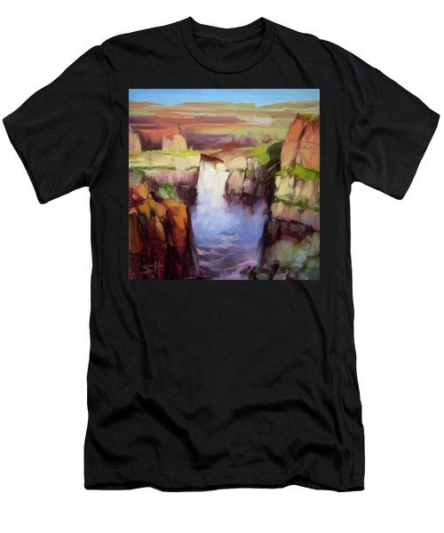 Men's T-Shirt (Athletic Fit) featuring the painting Spring At Palouse Falls by Steve Henderson