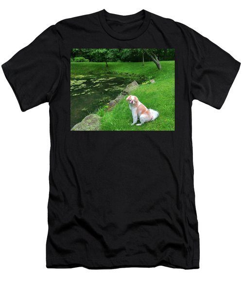 Men's T-Shirt (Athletic Fit) featuring the photograph Spring Green Japanese Chin by Roger Bester