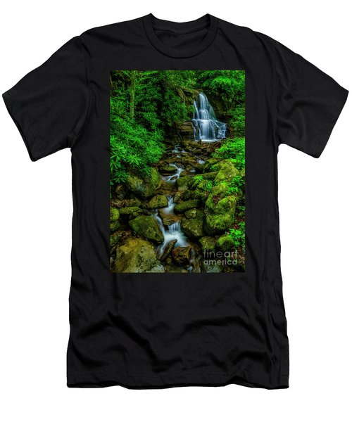 Spring Green Waterfall And Rhododendron Men's T-Shirt (Athletic Fit)