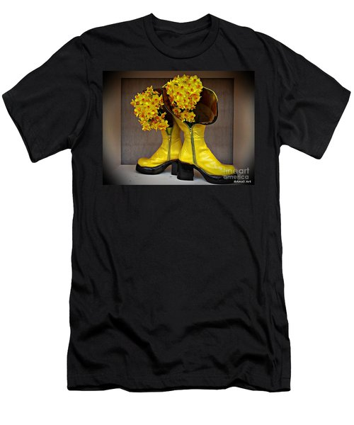 Spring In Yellow Boots Men's T-Shirt (Slim Fit) by AmaS Art