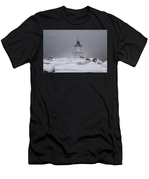 Spring Point Ledge Lighthouse Blizzard Men's T-Shirt (Athletic Fit)