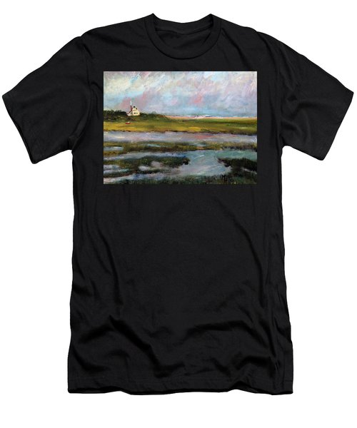 Men's T-Shirt (Slim Fit) featuring the painting Springtime In The Marsh by Michael Helfen