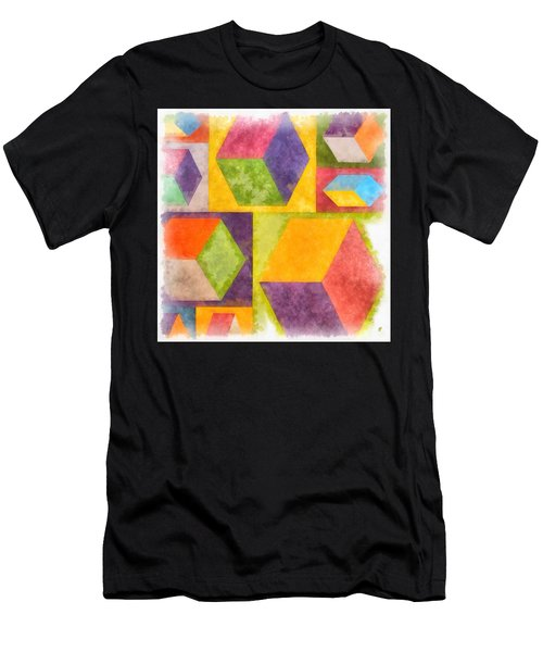 Square Cubes Abstract Men's T-Shirt (Athletic Fit)