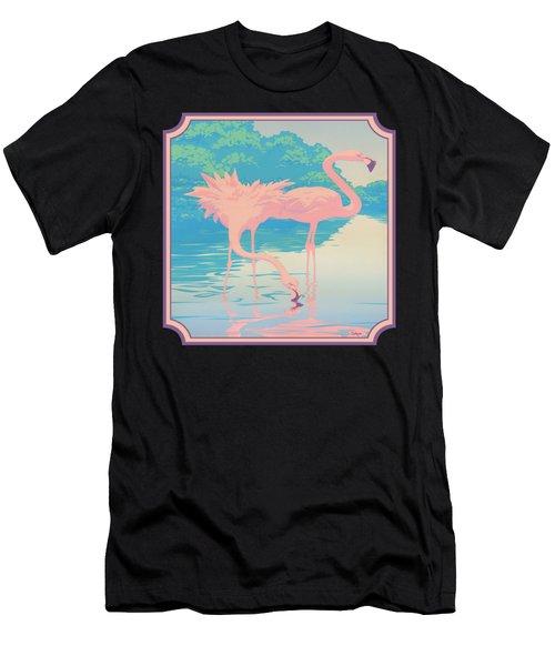 Square Format - Pink Flamingos Retro Pop Art Nouveau Tropical Bird 80s 1980s Florida Painting Print Men's T-Shirt (Athletic Fit)