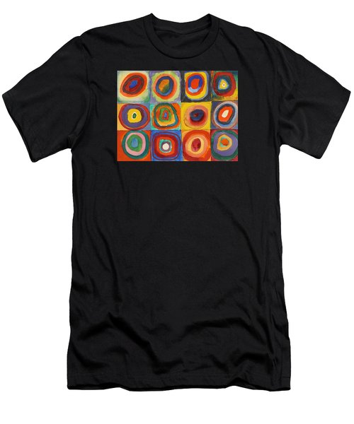Squares With Concentric Circles Men's T-Shirt (Slim Fit) by Wassily Kandinsky