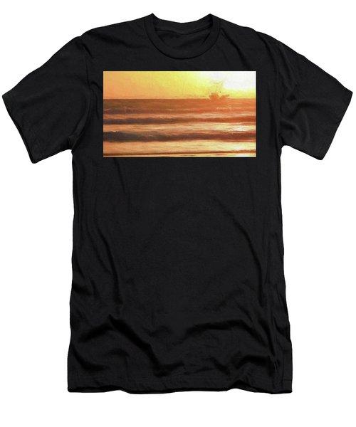 Squid Boat Sunset Men's T-Shirt (Athletic Fit)