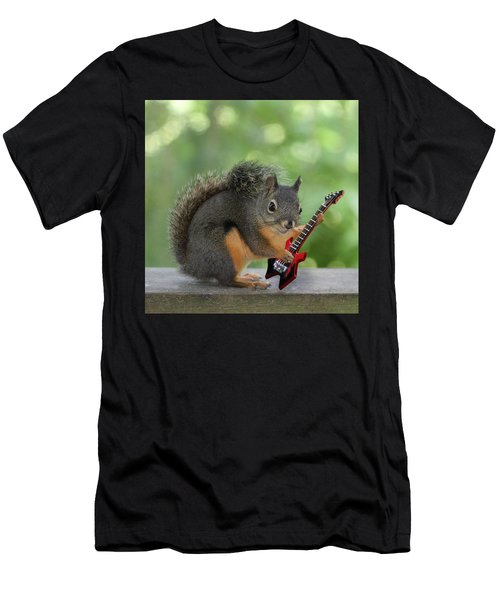 Squirrel Playing Electric Guitar Men's T-Shirt (Slim Fit) by Peggy Collins