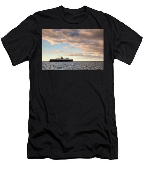 Men's T-Shirt (Athletic Fit) featuring the photograph Ss Badger Leaving Port by Adam Romanowicz