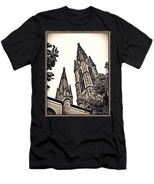 St Boniface Church Towers Sepia Men's T-Shirt (Slim Fit) by Sarah Loft