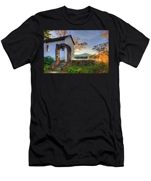 Men's T-Shirt (Athletic Fit) featuring the photograph St Francis Chapel Mountain Scene - Marlborough Nh by Joann Vitali
