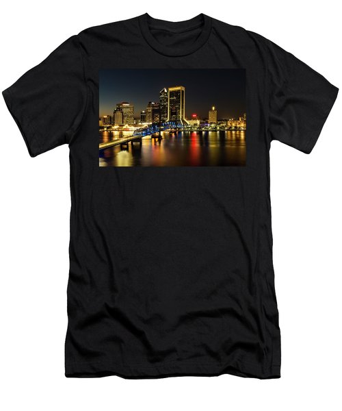 St Johns River Skyline By Night, Jacksonville, Florida Men's T-Shirt (Athletic Fit)