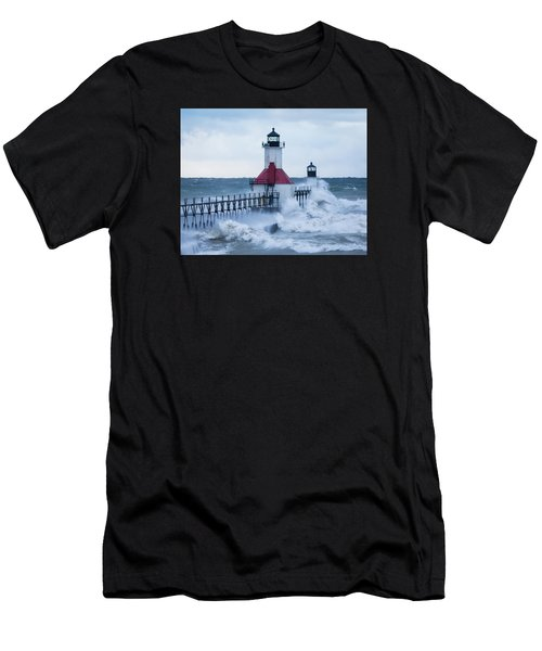 St. Joseph Lighthouse With Waves Men's T-Shirt (Athletic Fit)