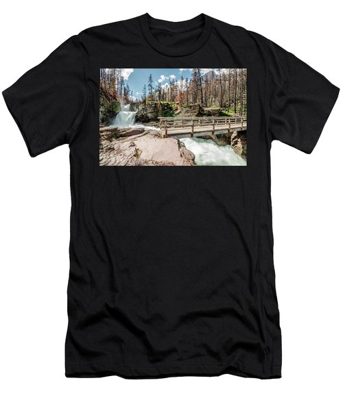 St. Mary Falls With Bridge Men's T-Shirt (Athletic Fit)