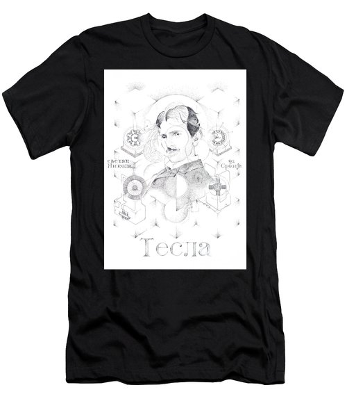 St. Nikola Tesla Of Serbia Sombra De Arreguin Men's T-Shirt (Athletic Fit)