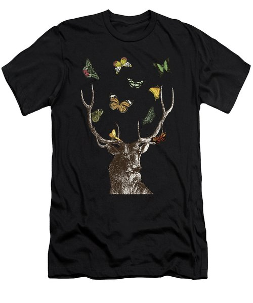 Stag And Butterflies Men's T-Shirt (Athletic Fit)