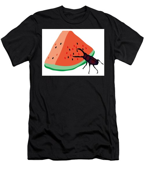 Stag Beetle Is Eating A Piece Of Red Watermelon Men's T-Shirt (Athletic Fit)